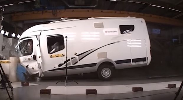 The Swedish Transport Administration has carried out crash tests of motorhomes to examine crash safety